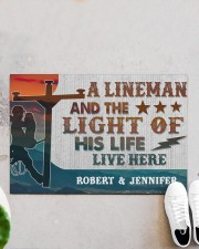 "Lineman and the light of his life live here Doormat 34"" x 23"" aos-doormat-34-x-23-lifestyle-front-06"