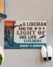 "Lineman and the light of his life live here Doormat 34"" x 23"" aos-doormat-34-x-23-lifestyle-front-07"
