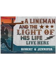 "Lineman and the light of his life live here Doormat 34"" x 23"" front"
