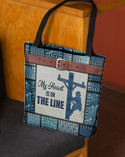 Lineman My heart is on the line  All-over Tote aos-all-over-tote-lifestyle-front-02