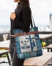 Lineman My heart is on the line  All-over Tote aos-all-over-tote-lifestyle-front-04