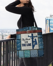 Lineman My heart is on the line  All-over Tote aos-all-over-tote-lifestyle-front-05