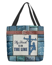 Lineman My heart is on the line  All-over Tote front