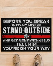 """Firefighter Before you break into my house  Doormat 34"""" x 23"""" aos-doormat-34-x-23-lifestyle-front-02"""