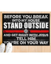 """Firefighter Before you break into my house  Doormat 34"""" x 23"""" aos-doormat-34-x-23-lifestyle-front-03"""