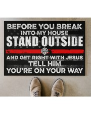 """Firefighter Before you break into my house  Doormat 34"""" x 23"""" aos-doormat-34-x-23-lifestyle-front-04"""