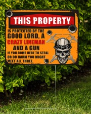 Lineman This property is protected  24x18 Yard Sign aos-yard-sign-24x18-lifestyle-front-05