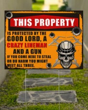Lineman This property is protected  24x18 Yard Sign aos-yard-sign-24x18-lifestyle-front-07
