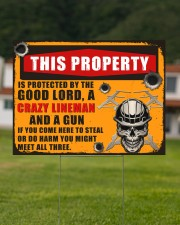 Lineman This property is protected  24x18 Yard Sign aos-yard-sign-24x18-lifestyle-front-10