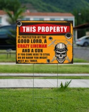 Lineman This property is protected  24x18 Yard Sign aos-yard-sign-24x18-lifestyle-front-13