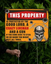Lineman This property is protected  24x18 Yard Sign aos-yard-sign-24x18-lifestyle-front-17