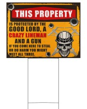Lineman This property is protected  24x18 Yard Sign back