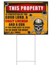 Lineman This property is protected  24x18 Yard Sign front