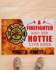 """Firefighter and his hottie  Doormat 34"""" x 23"""" aos-doormat-34-x-23-lifestyle-front-02"""