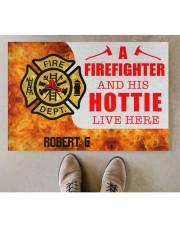 """Firefighter and his hottie  Doormat 34"""" x 23"""" aos-doormat-34-x-23-lifestyle-front-04"""
