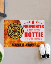 """Firefighter and his hottie  Doormat 34"""" x 23"""" aos-doormat-34-x-23-lifestyle-front-07"""