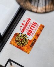 """Firefighter and his hottie  Doormat 34"""" x 23"""" aos-doormat-34-x-23-lifestyle-front-08"""