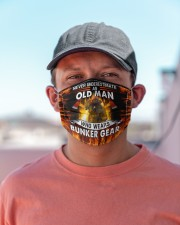 Firefighter An old man who wears bunker gear Cloth face mask aos-face-mask-lifestyle-06