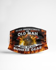 Firefighter An old man who wears bunker gear Cloth face mask aos-face-mask-lifestyle-22