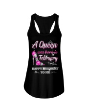 A Queen was born in-February Ladies Flowy Tank thumbnail