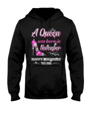 A Queen was born in-November-leg Hooded Sweatshirt thumbnail