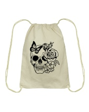 Skull Roses Flowers Butterfly Grin Death Love Drawstring Bag tile