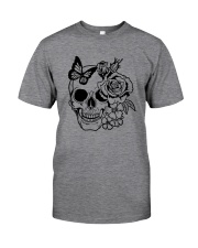 Skull Roses Flowers Butterfly Grin Death Love Classic T-Shirt tile