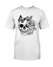 Skull Roses Flowers Butterfly Grin Death Love Classic T-Shirt front