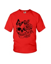 Skull Roses Flowers Butterfly Grin Death Love Youth T-Shirt tile