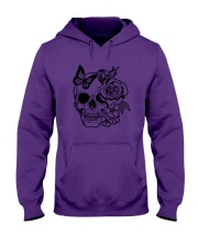 Skull Roses Flowers Butterfly Grin Death Love Hooded Sweatshirt tile