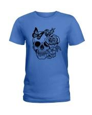 Skull Roses Flowers Butterfly Grin Death Love Ladies T-Shirt tile