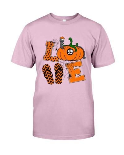 Love Halloween Pumpkin Spider Flip Flops