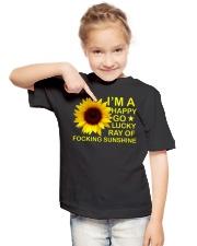i'm happy go lucky ray of focking sunshine Youth T-Shirt lifestyle-youth-tshirt-front-2