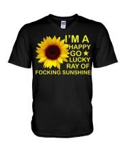 i'm happy go lucky ray of focking sunshine V-Neck T-Shirt thumbnail