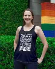 How Reading Addicts see Libraries Ladies Flowy Tank lifestyle-bellaflowy-tank-front-2