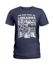 How Reading Addicts see Libraries Ladies T-Shirt thumbnail