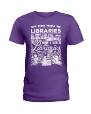 How Reading Addicts see Libraries Ladies T-Shirt front