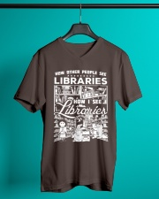 How Reading Addicts see Libraries V-Neck T-Shirt lifestyle-mens-vneck-front-3