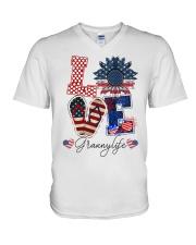 Flag Love Grannylife Sunflower V-Neck T-Shirt thumbnail