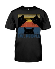 Vintage Black Cat Art Ew People Classic T-Shirt front