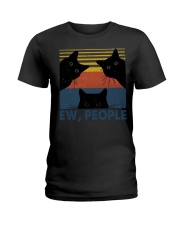 Vintage Black Cat Art Ew People Ladies T-Shirt thumbnail