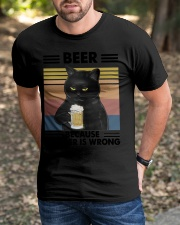 Funny Black Beer Because Murder Is Wrong Classic T-Shirt apparel-classic-tshirt-lifestyle-front-52