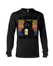 Funny Black Beer Because Murder Is Wrong Long Sleeve Tee thumbnail