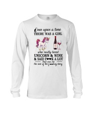 Girl Love Unicorn and Wine Said Long Sleeve Tee thumbnail