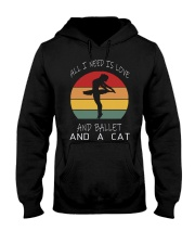 ALL I NEED IS LOVE AND BALLET AND A CAT WOMEN VINT Hooded Sweatshirt thumbnail