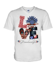 Flag Love Grandmalife Sunflower V-Neck T-Shirt thumbnail
