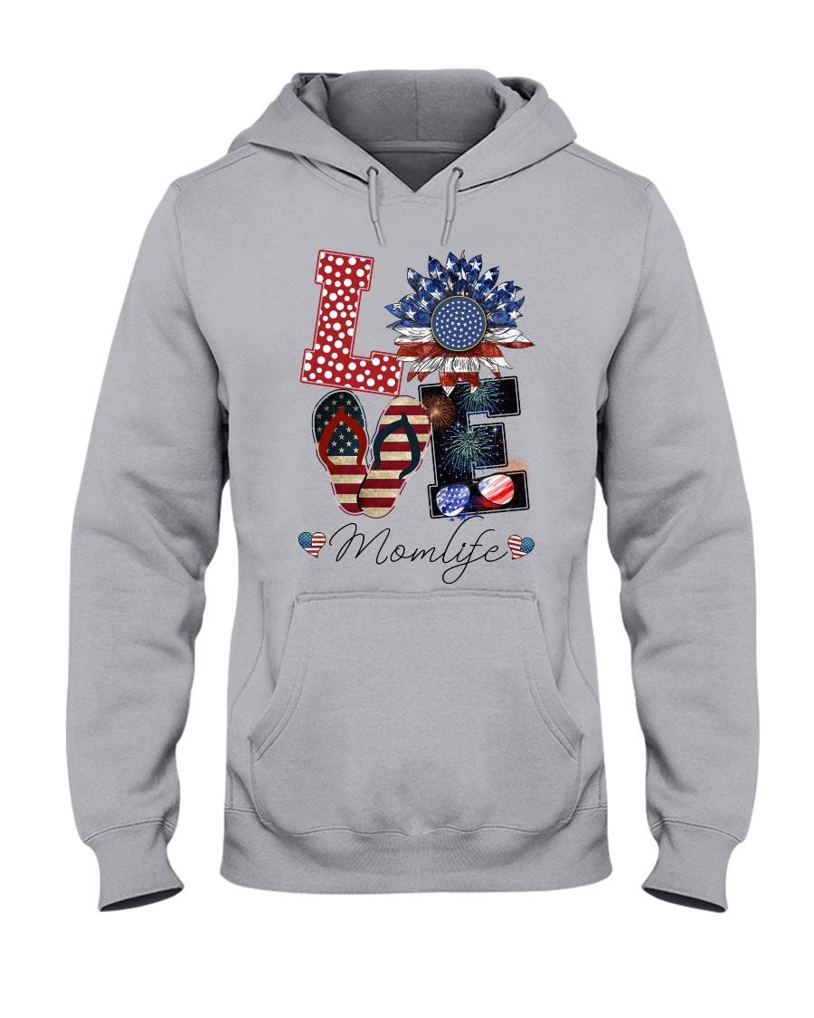 Flag Love Momlife Sunflower Hooded Sweatshirt