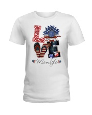 Flag Love Momlife Sunflower Ladies T-Shirt thumbnail