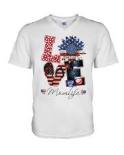 Flag Love Momlife Sunflower V-Neck T-Shirt thumbnail