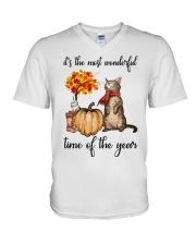 Autumn Cats V-Neck T-Shirt thumbnail